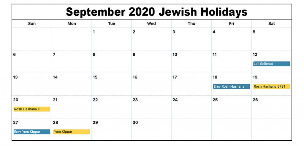 Jewish Holidays September 2020 Calendar