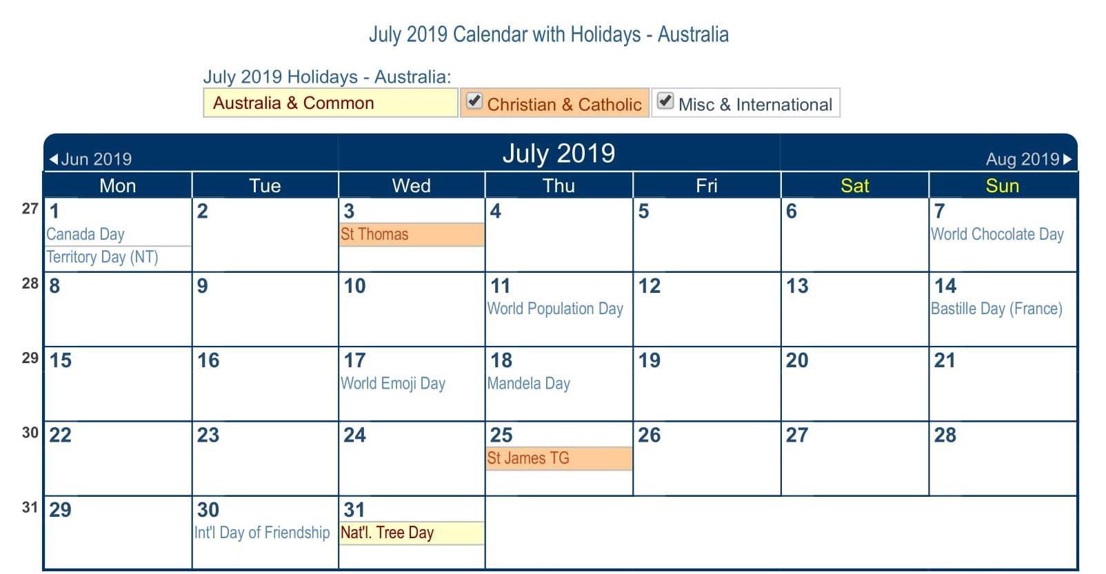 July 2019 Calendar Australia with Holidays