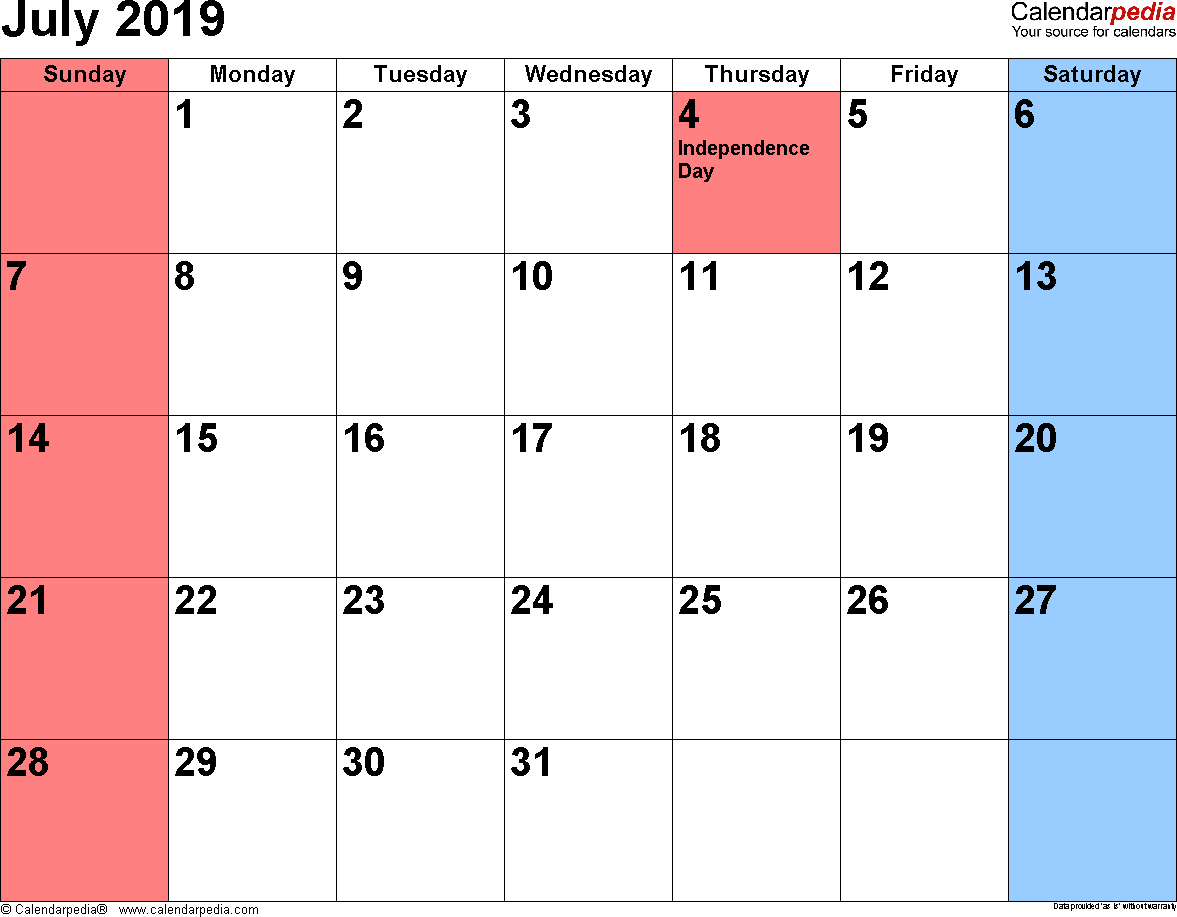 July 2019 Calendar Holidays
