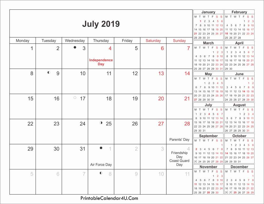 July 2019 Calendar Printable Holidays with Moon Phases