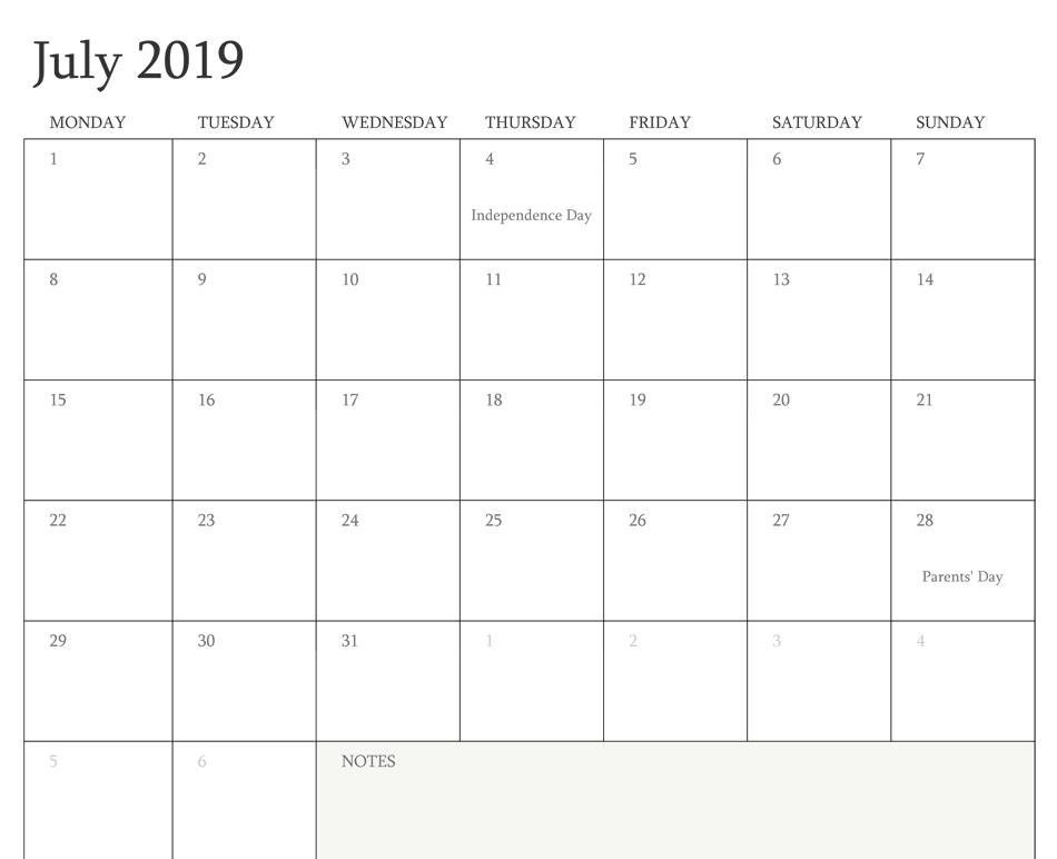 July 2019 Calendar With Holidays Printable