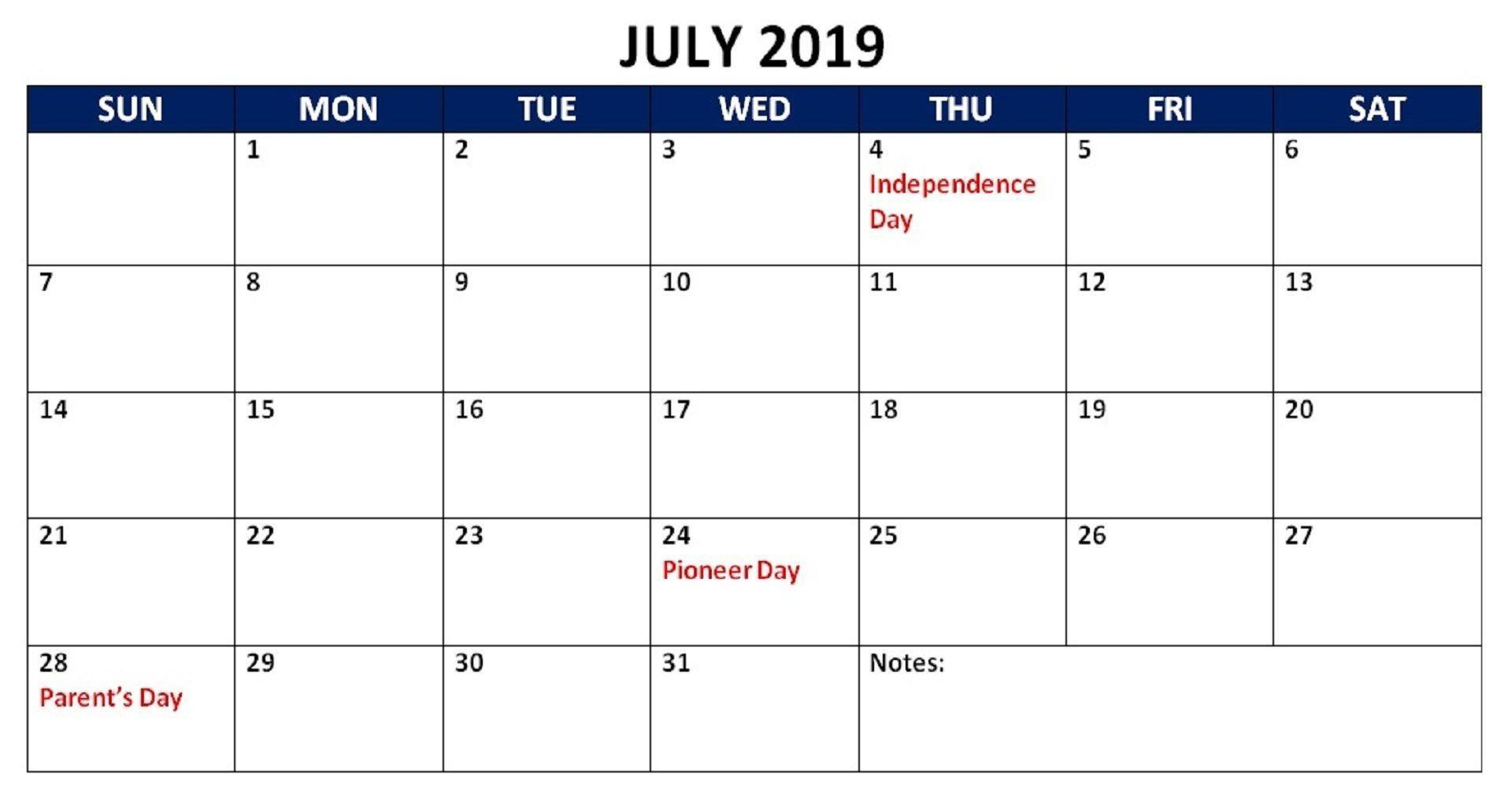 July 2019 Holidays Calendar