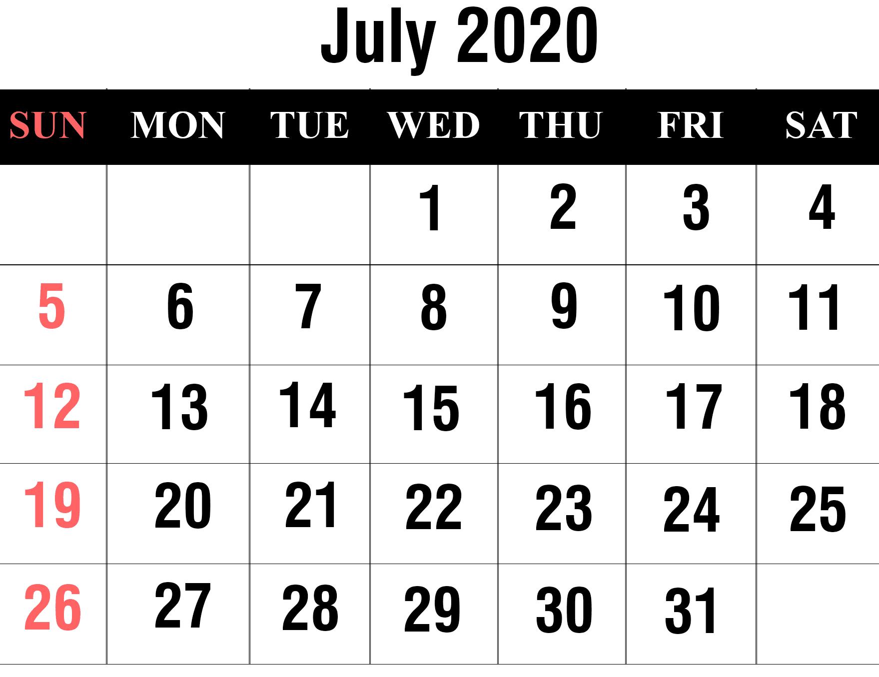 July 2020 Calendar Printable Free