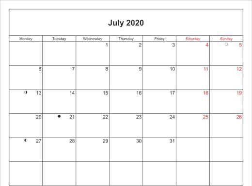 July 2020 Calendar Printable with Bank Holidays UK Landscape