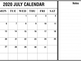 July 2020 Calendar with notes