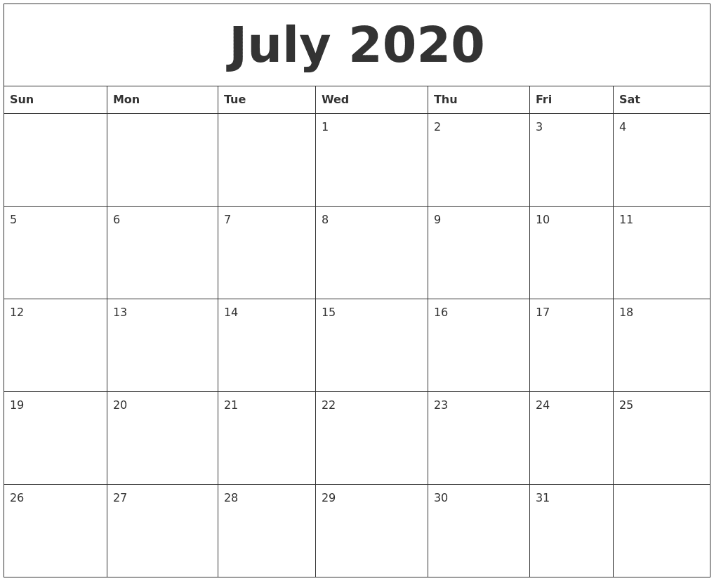 July 2020 Monthly Calendar PDF