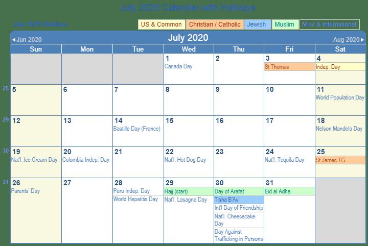 July Calendar 2020 Holidays