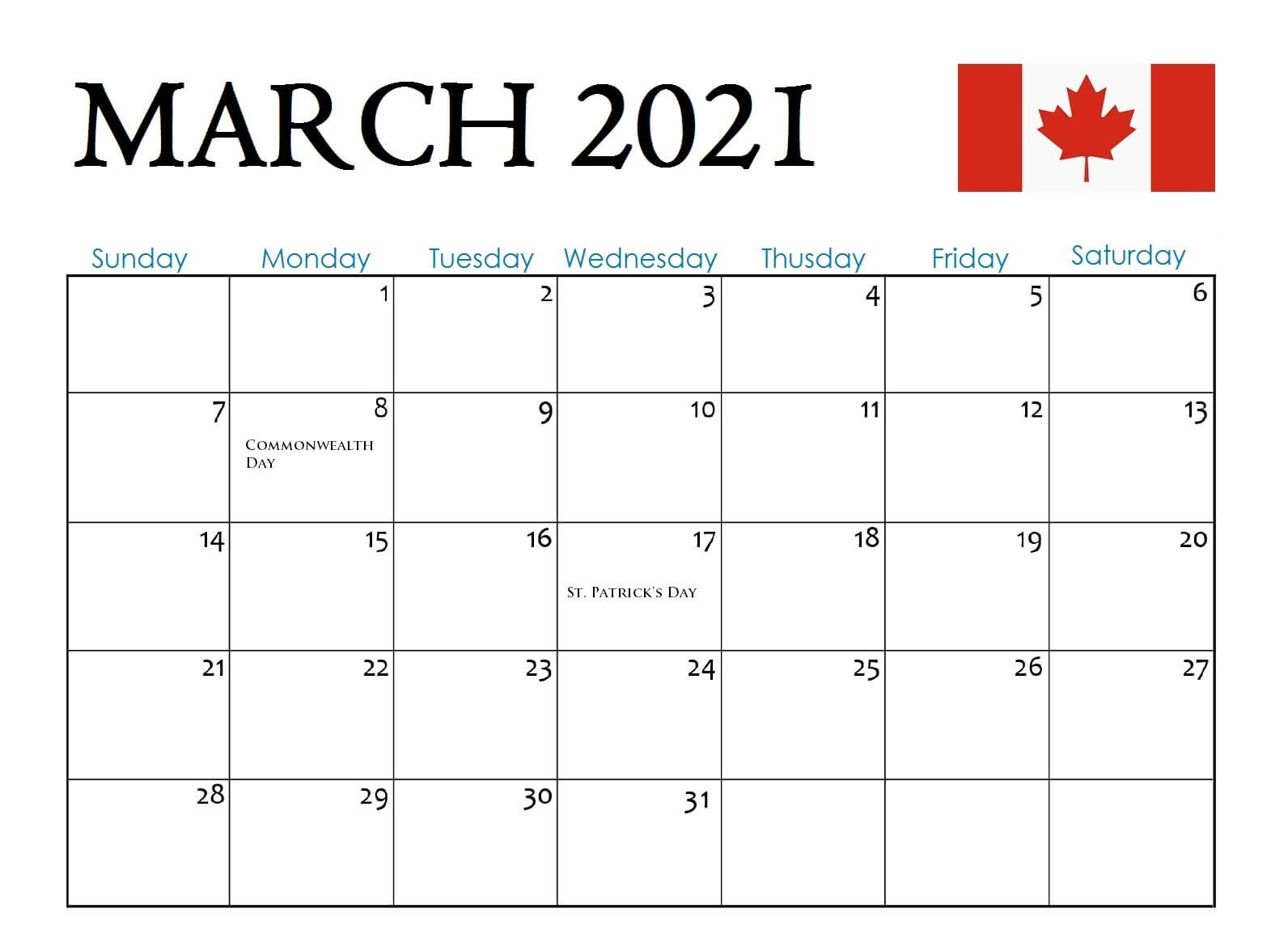 March 2021 Calendar with Holidays Canada