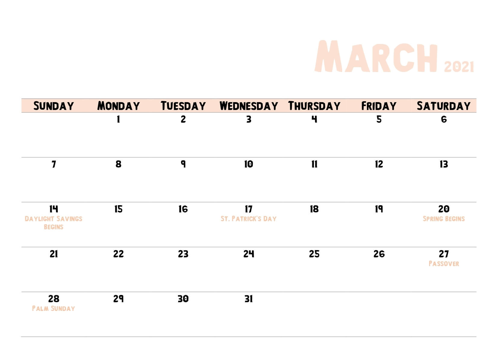 March 2021 Holidays Calendar