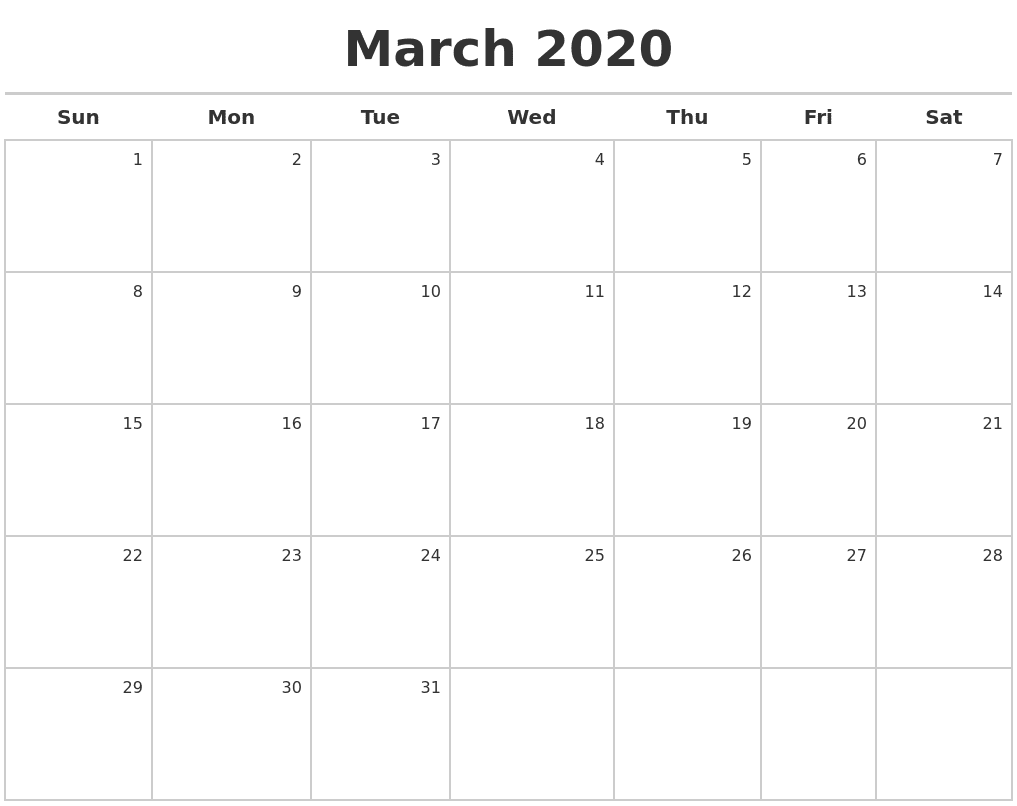 March Calendar 2020