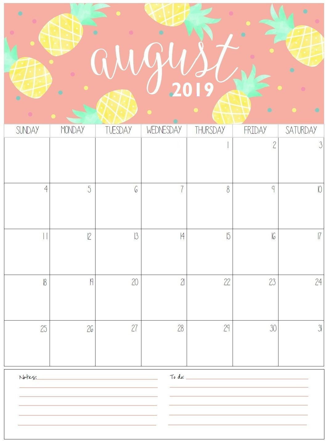 Monthly August Calendar 2019 Template