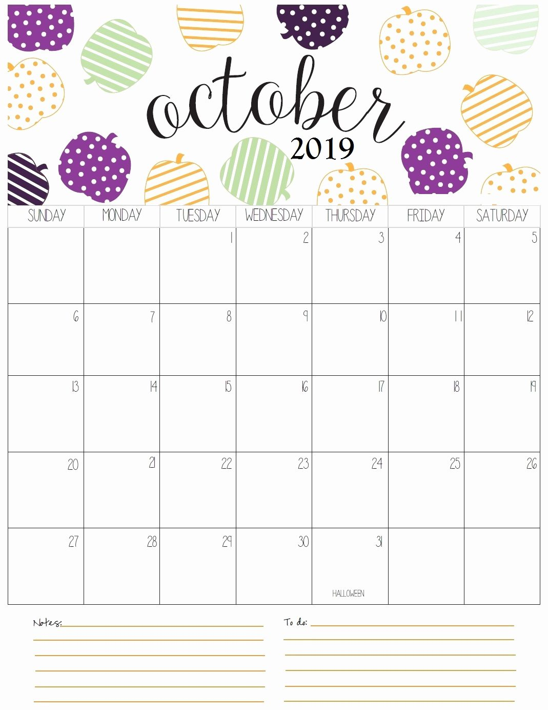 Blank October 2019 Calendar Download