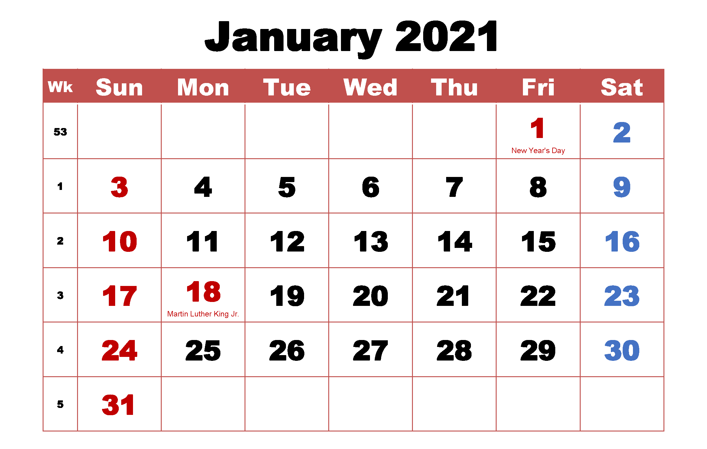 Monthly Calendar January 2021 PDF
