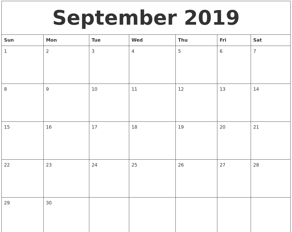 Monthly September 2019 Calendar