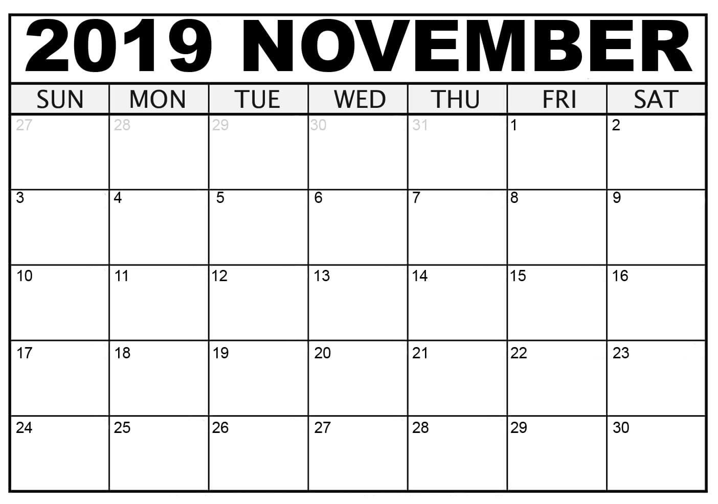 picture relating to Nov Calendar Printable Pdf named Absolutely free Blank November Calendar 2019 Printable Template PDF