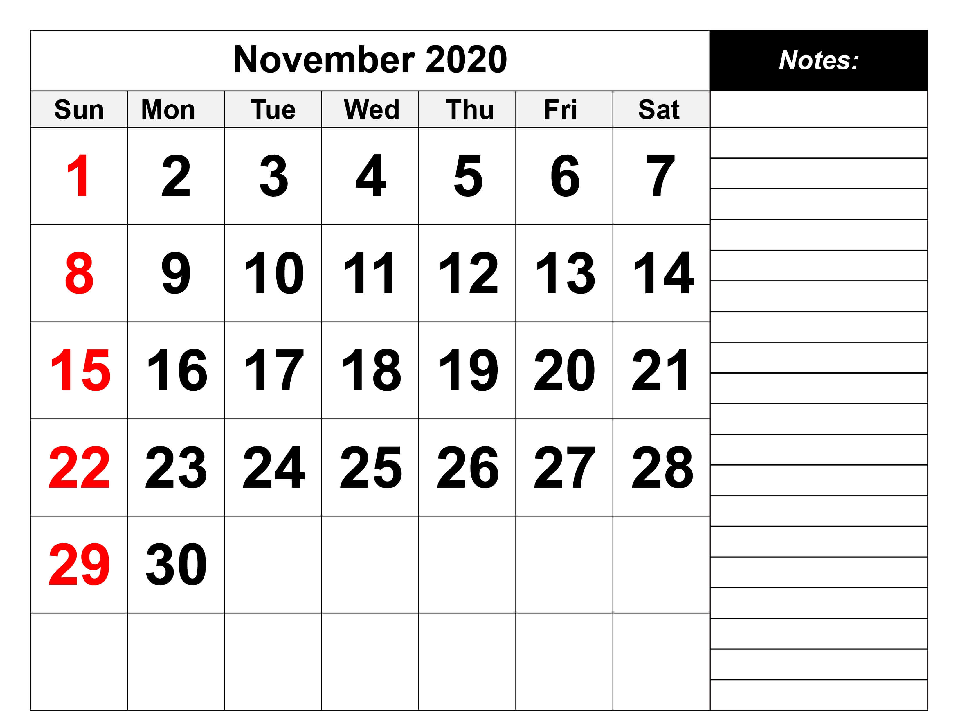 November 2020 Printable Calendar with Notes