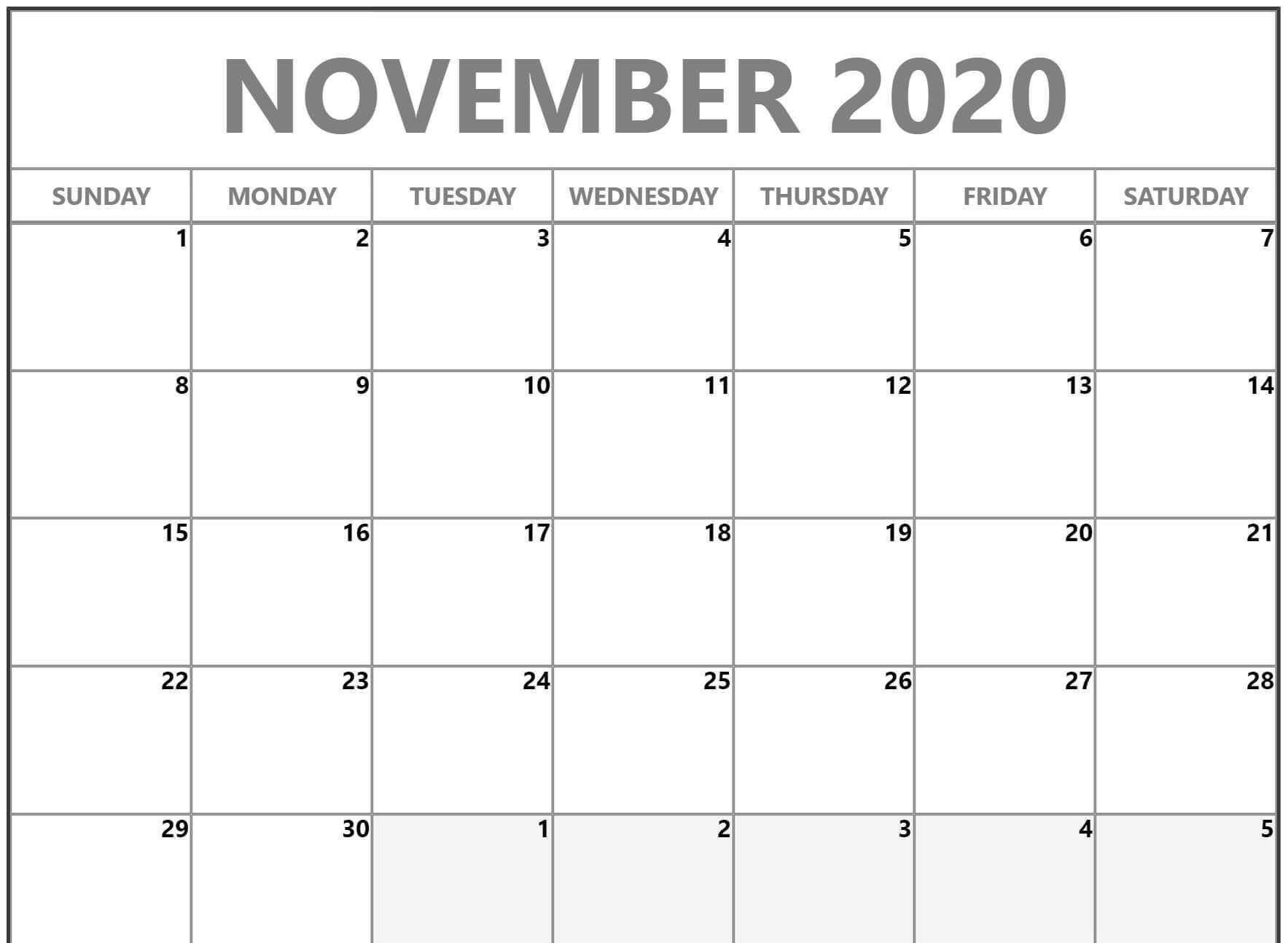 November Calendar 2020 Word