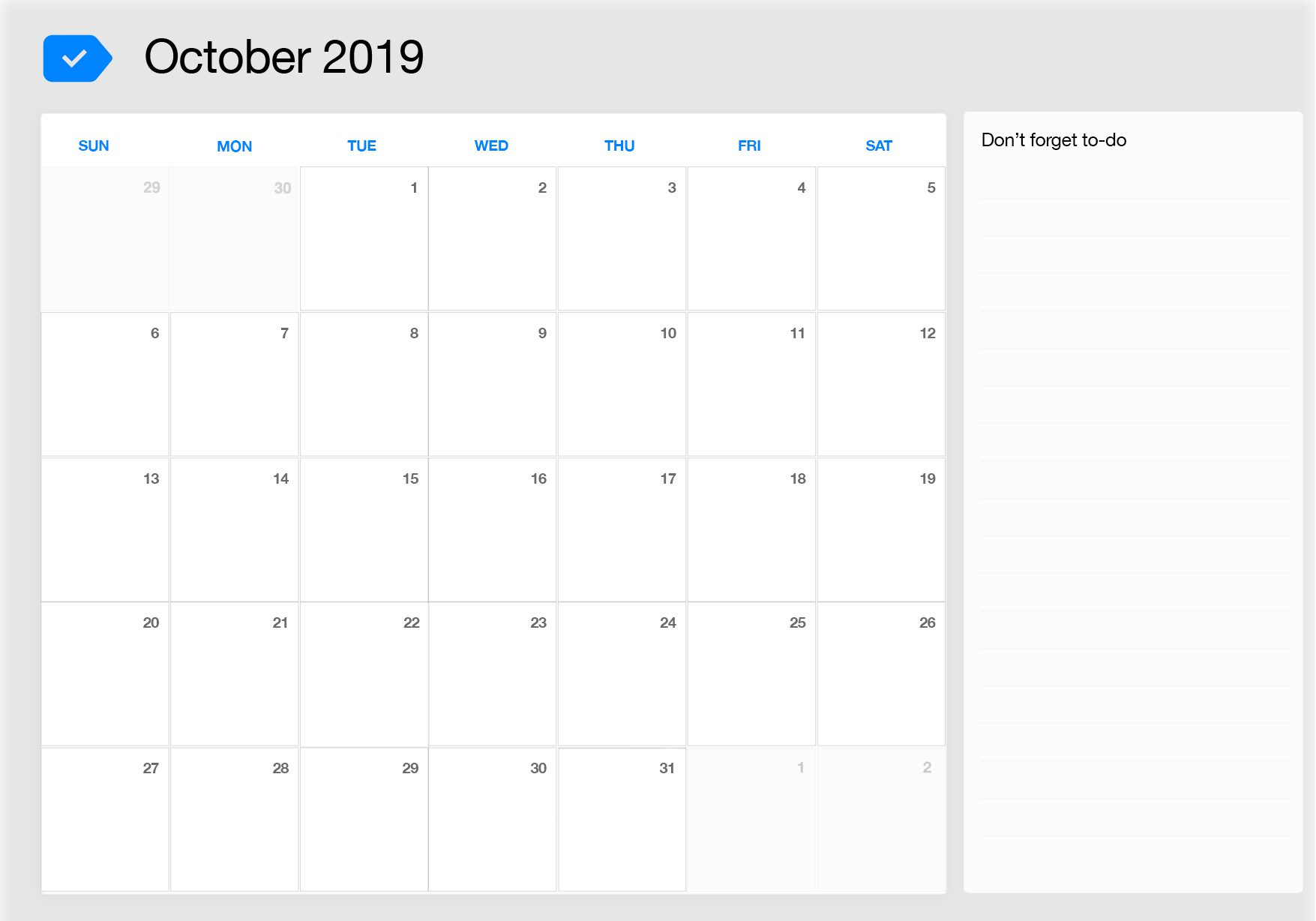 October 2019 Calendar Excel to do list