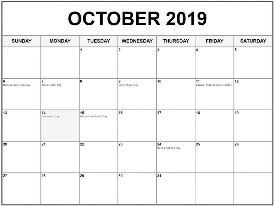 graphic relating to Oct Calendar Printable Pdf called Absolutely free Blank Oct Calendar 2019 Printable Template PDF Phrase