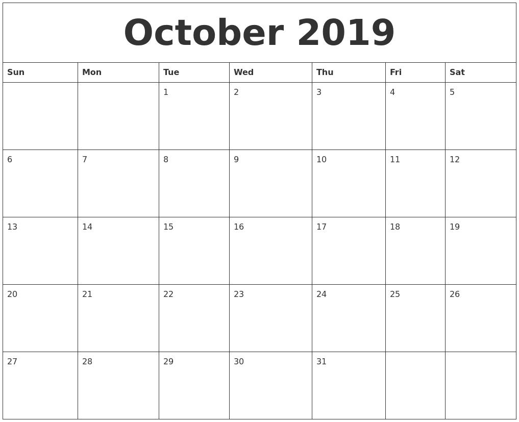 October 2019 Printable Calendar PDF