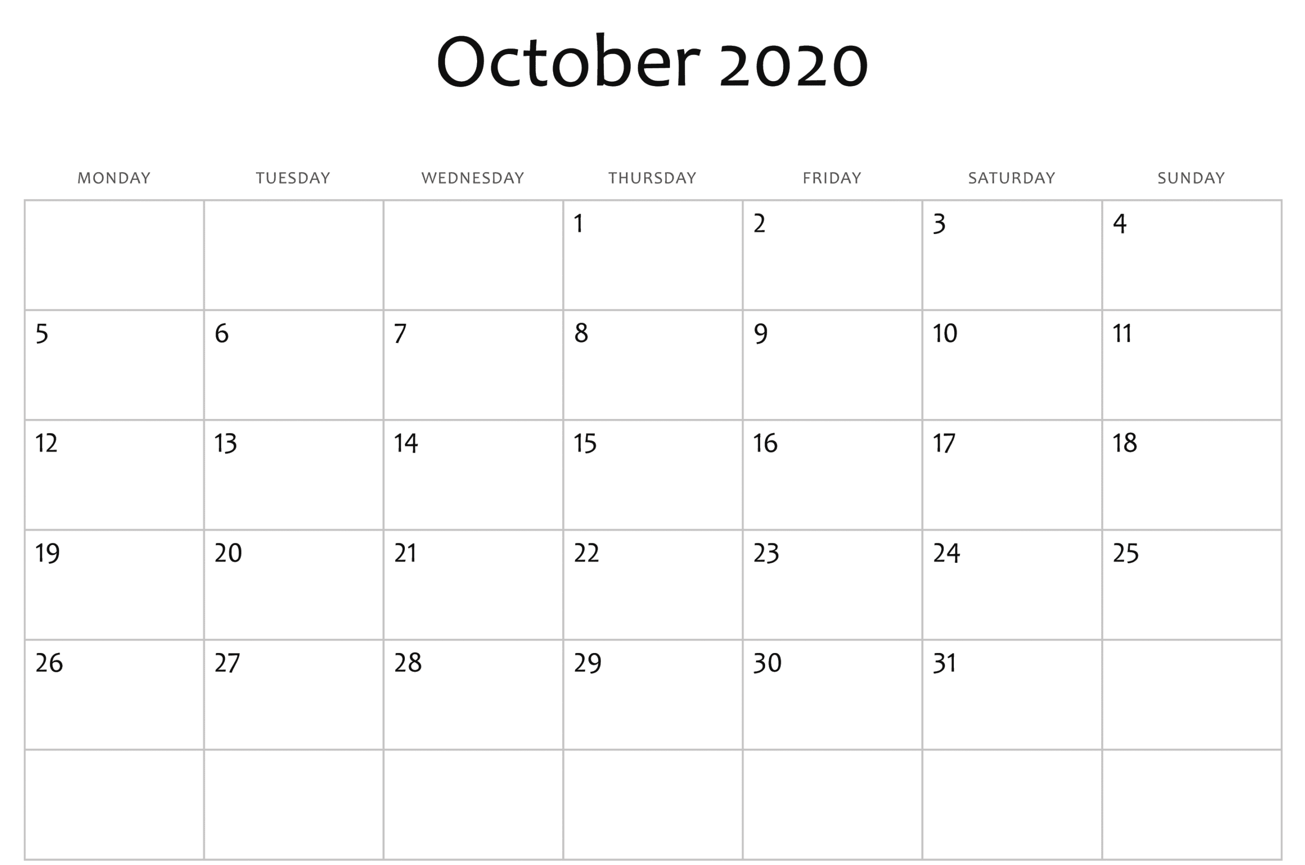 October 2020 Calendar Excel