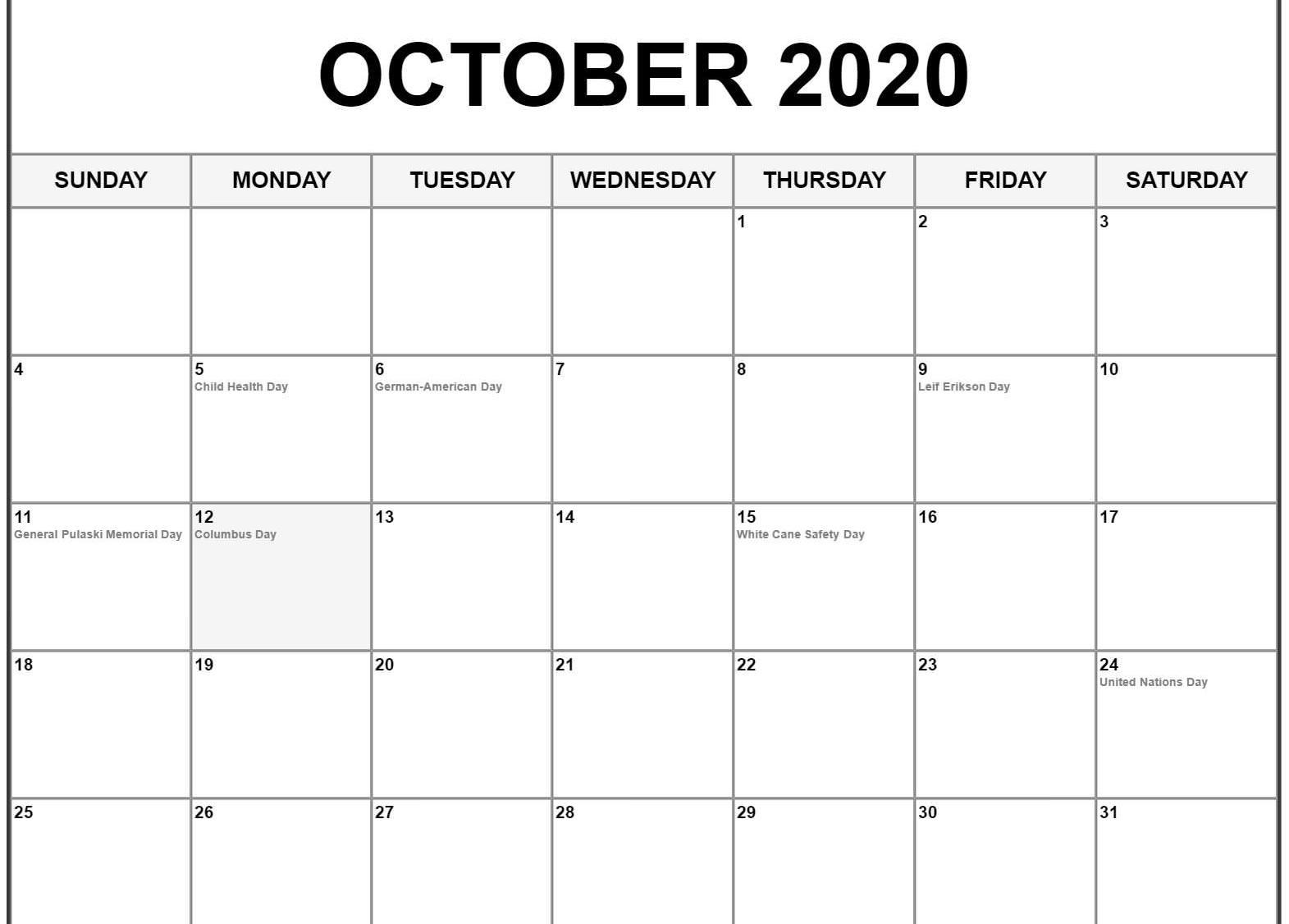 October 2020 US Calendar PDF