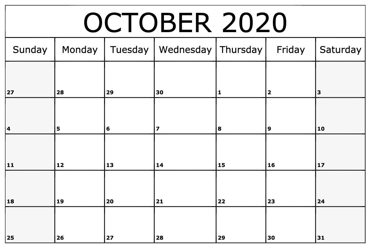 October 2020 Calendar Printable Blank Template