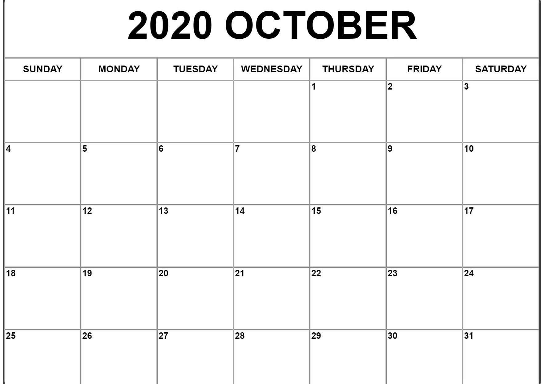 October 2020 Calendar Word
