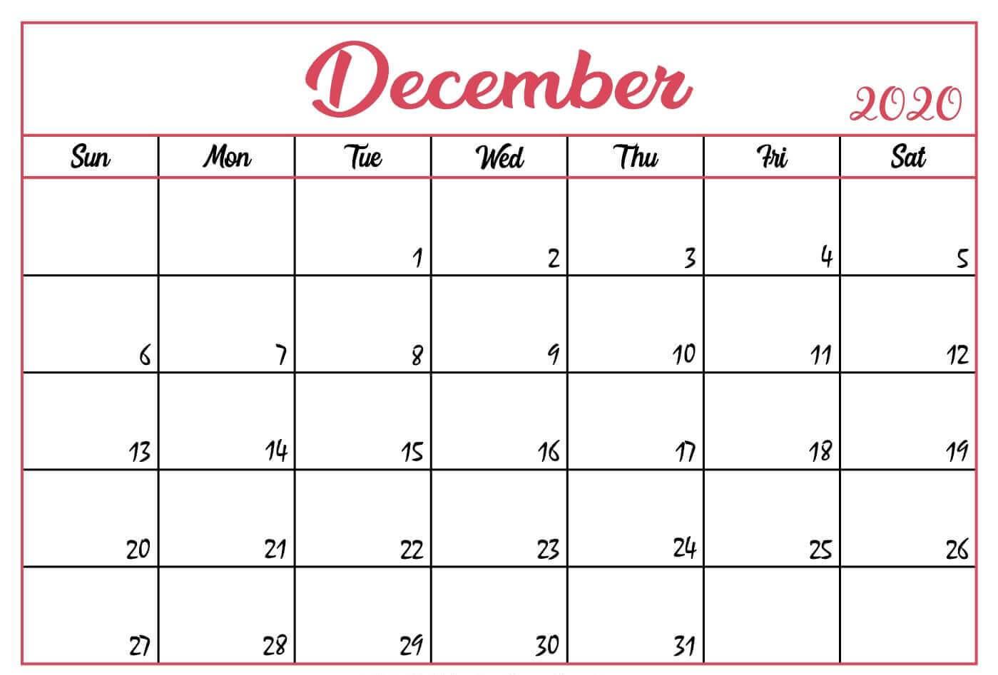 Print December 2020 Calendar Page