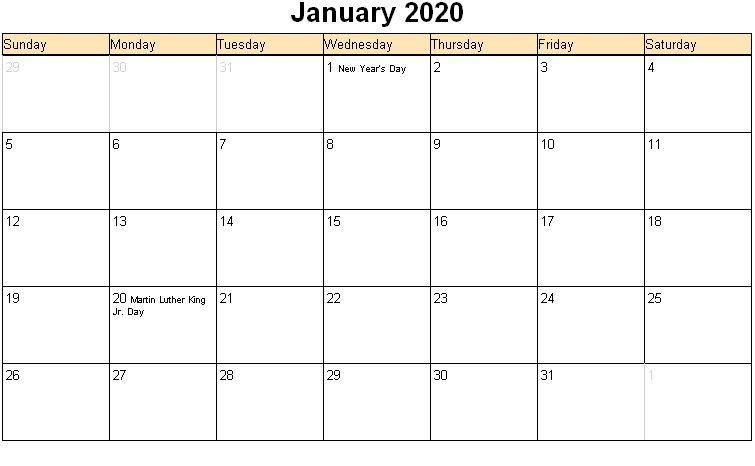 Print January 2020 Calendar