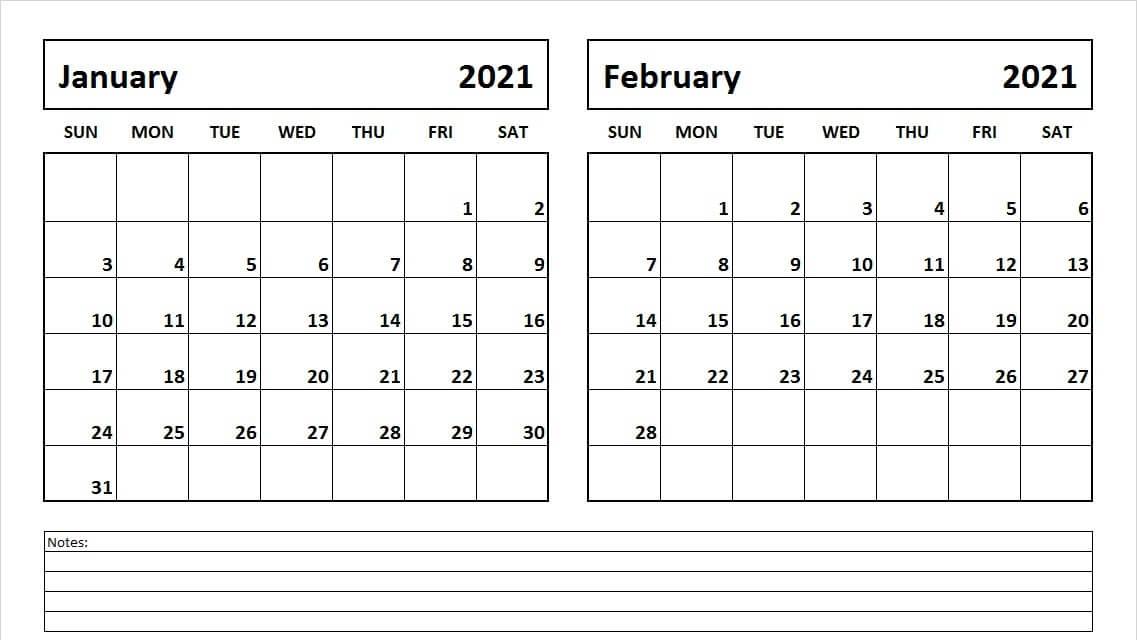Print January February 2021 Calendar