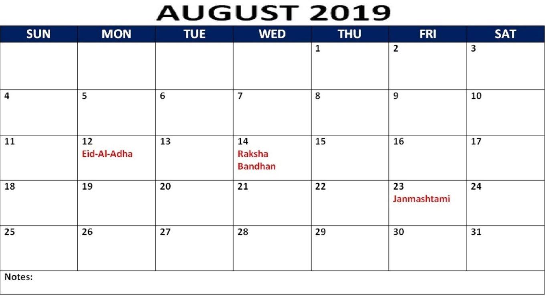 Printable August Calendar 2019 Holidays