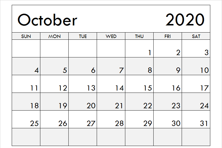 Printable Blank Calendar October 2020 Holidays