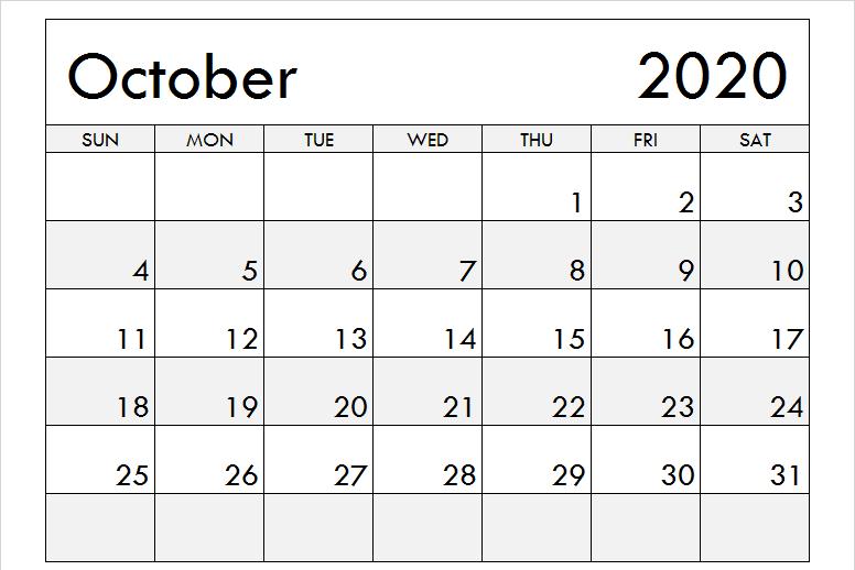 Printable Blank Calendar October 2020 Holidays