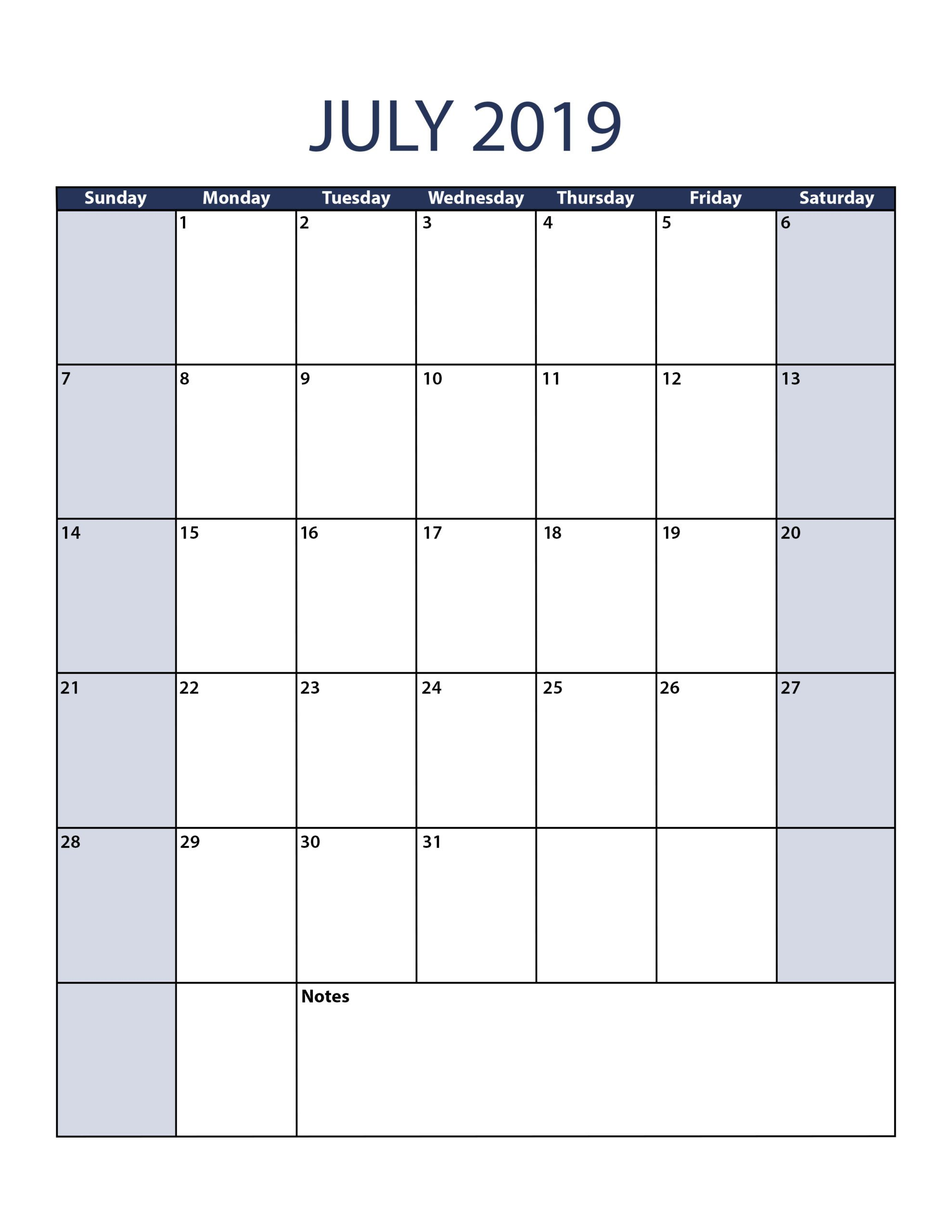 Printable Calendar July 2019 PDF