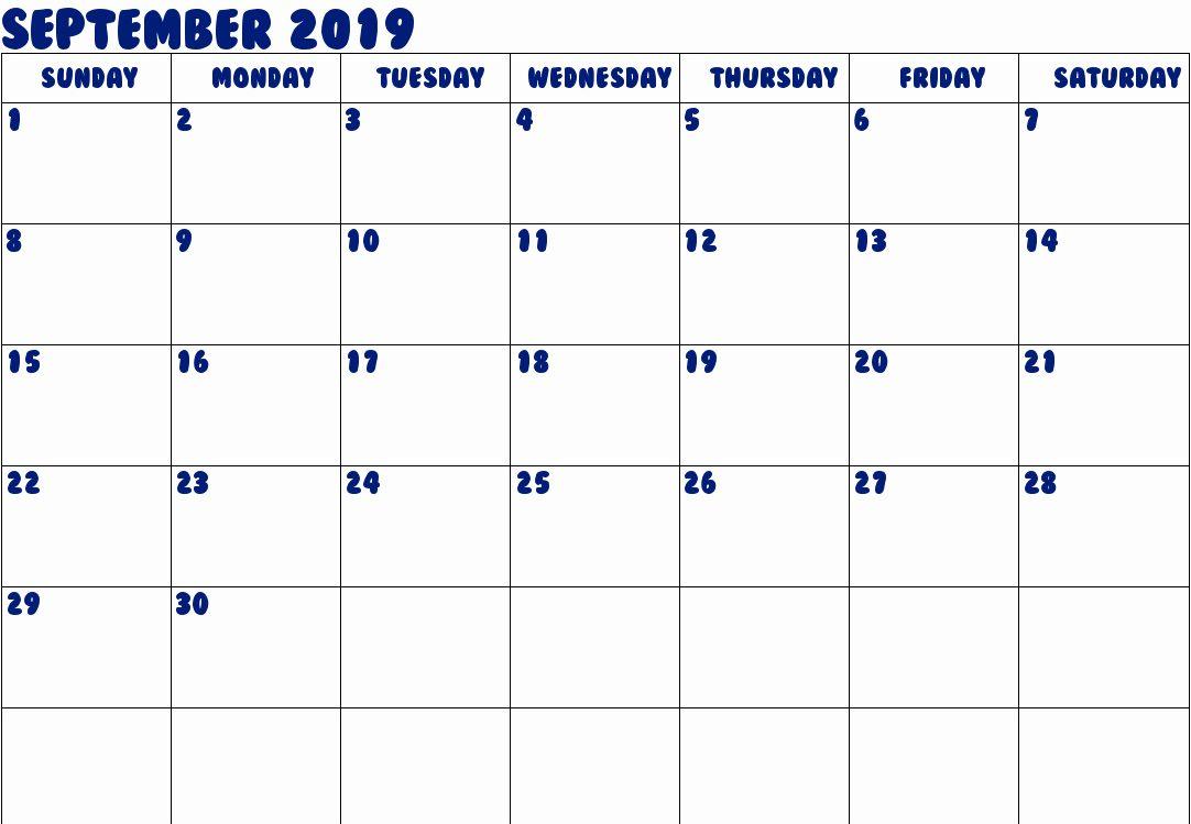 printable calendar september 2019