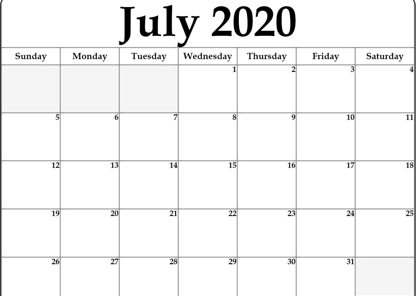 Printable Calendar for July 2020