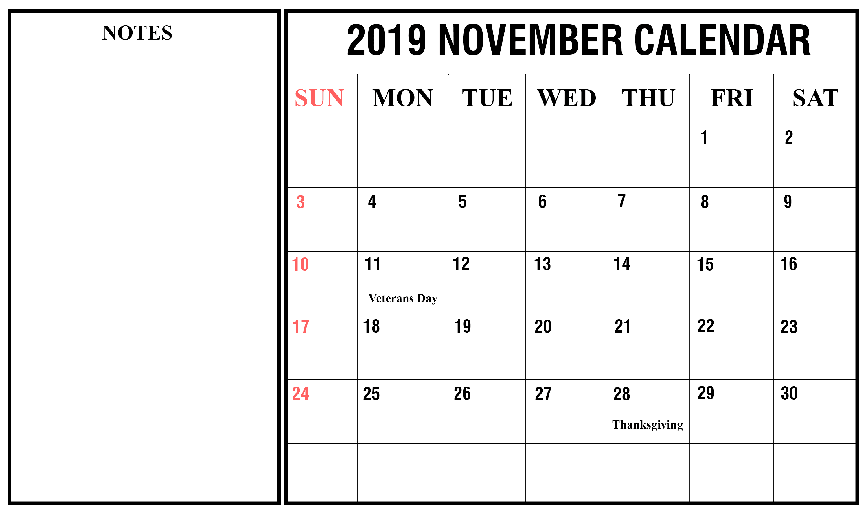 Printable November 2019 Calendar Fillable Notes