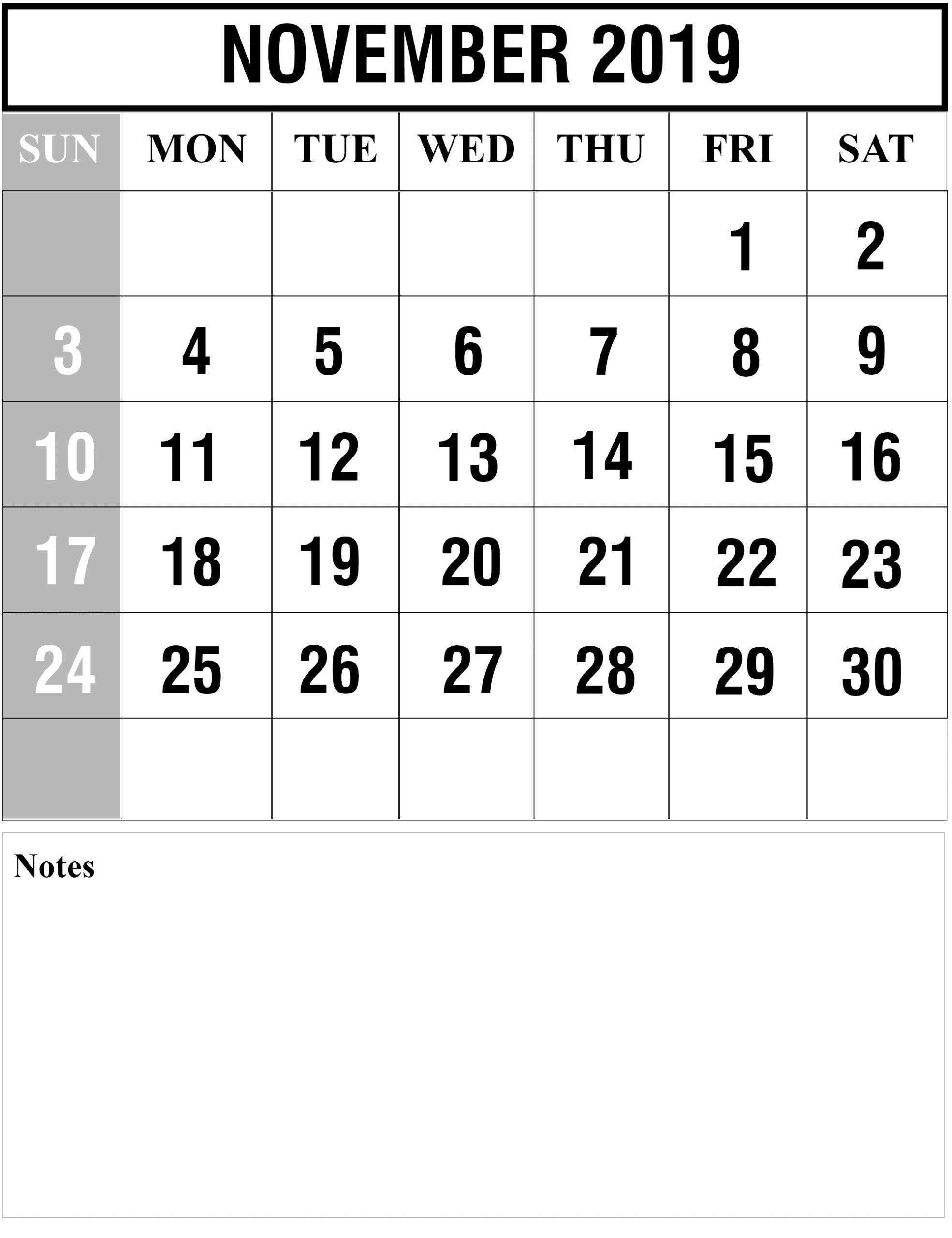 Printable November Calendar 2019