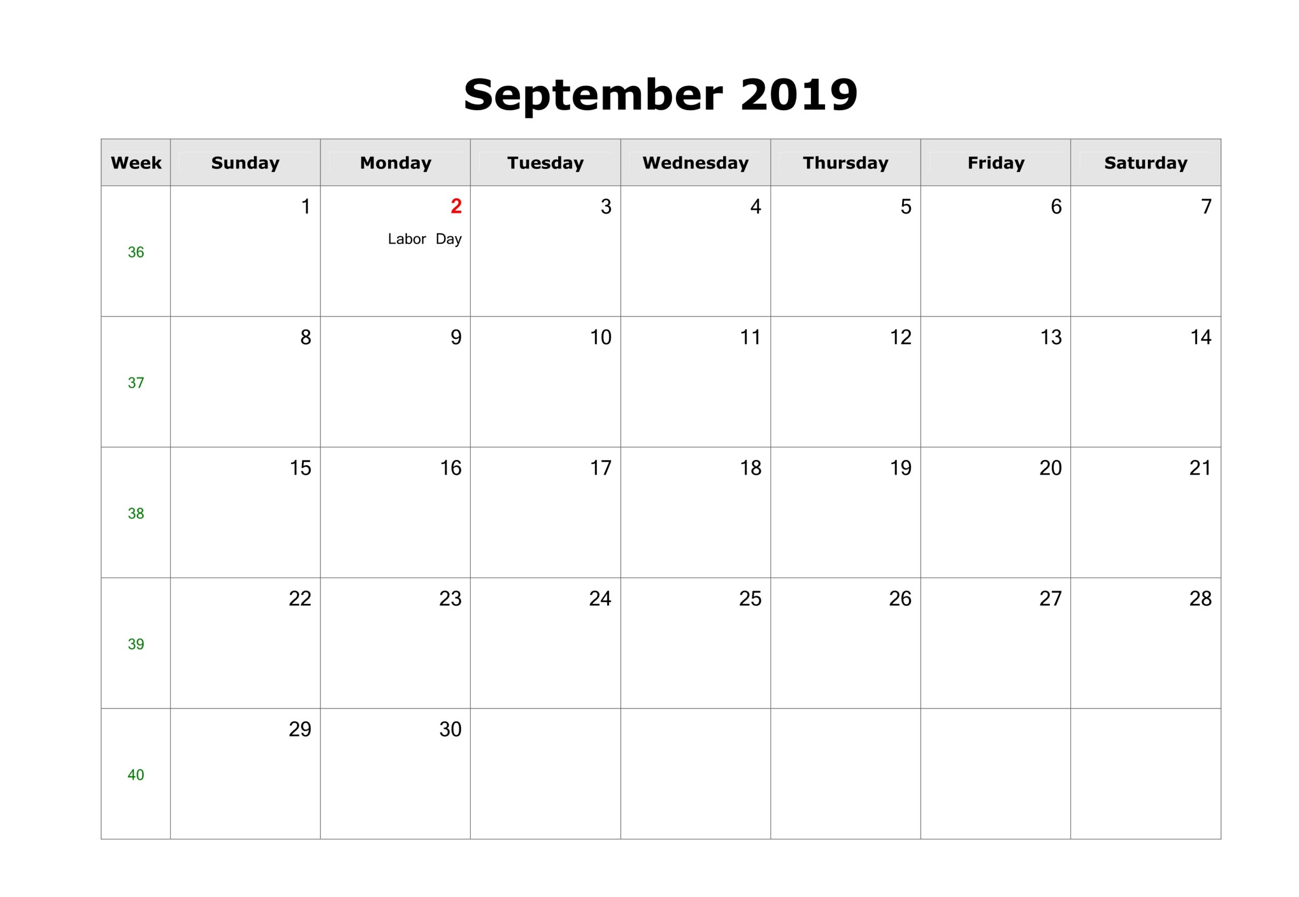 Blank September Calendar 2019 Printable Template 3
