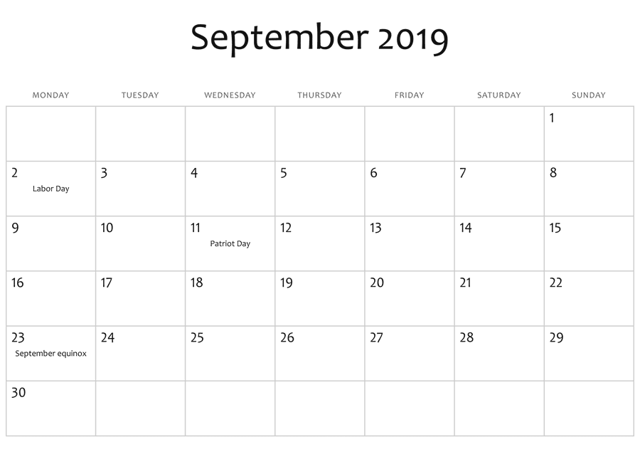 September 2019 Calendar Holidays USA