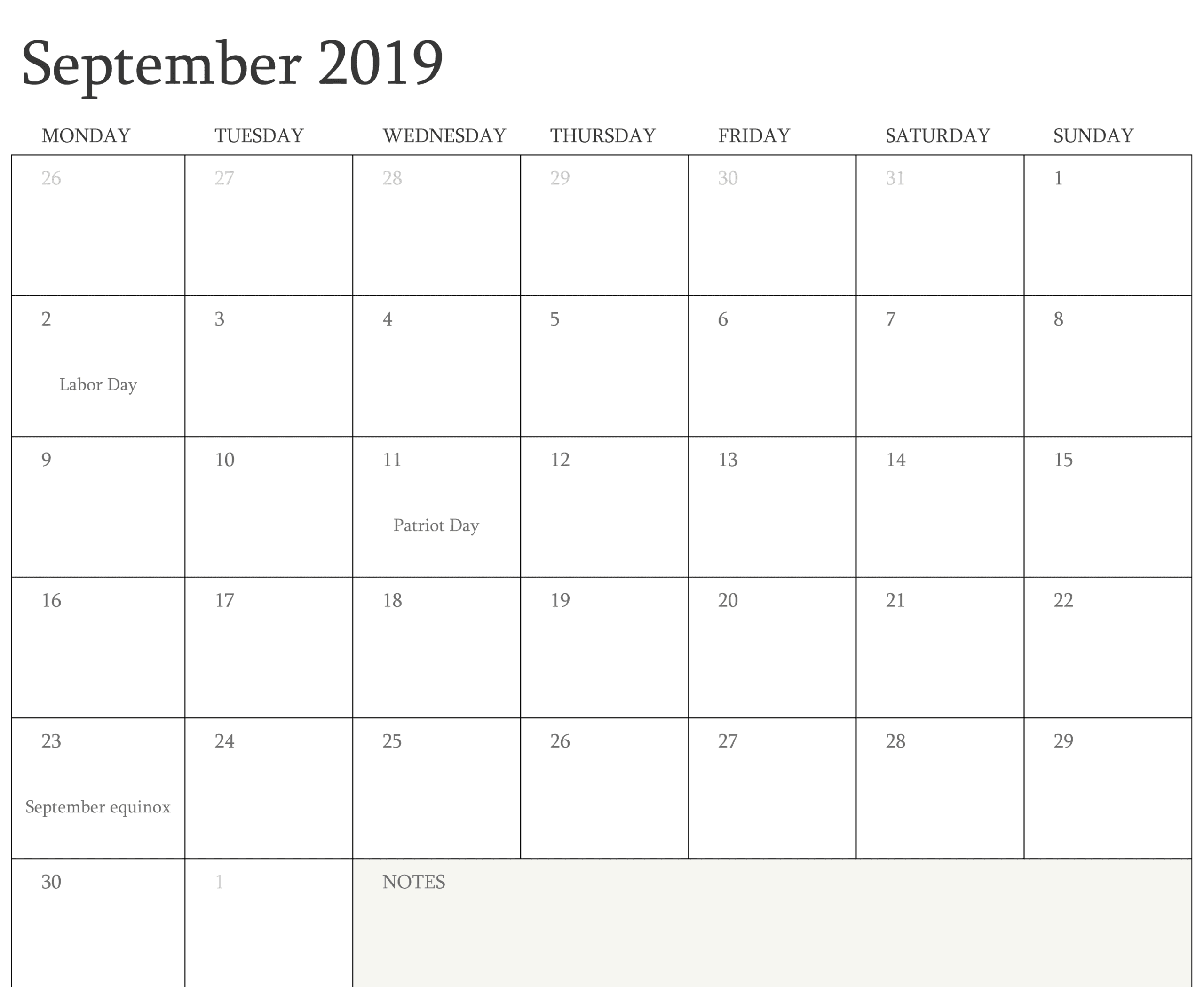 image about Printable Monthly Calendar September identified as Absolutely free Blank September Calendar 2019 Printable Template