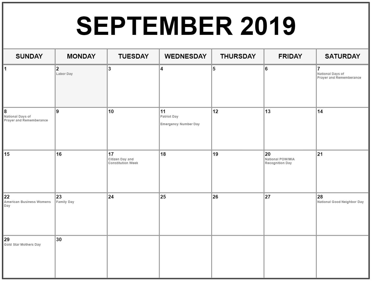 September Holidays 2019