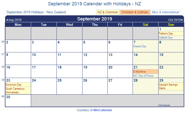 Printable September Holidays 2019 Calendar USA UK Canada 1