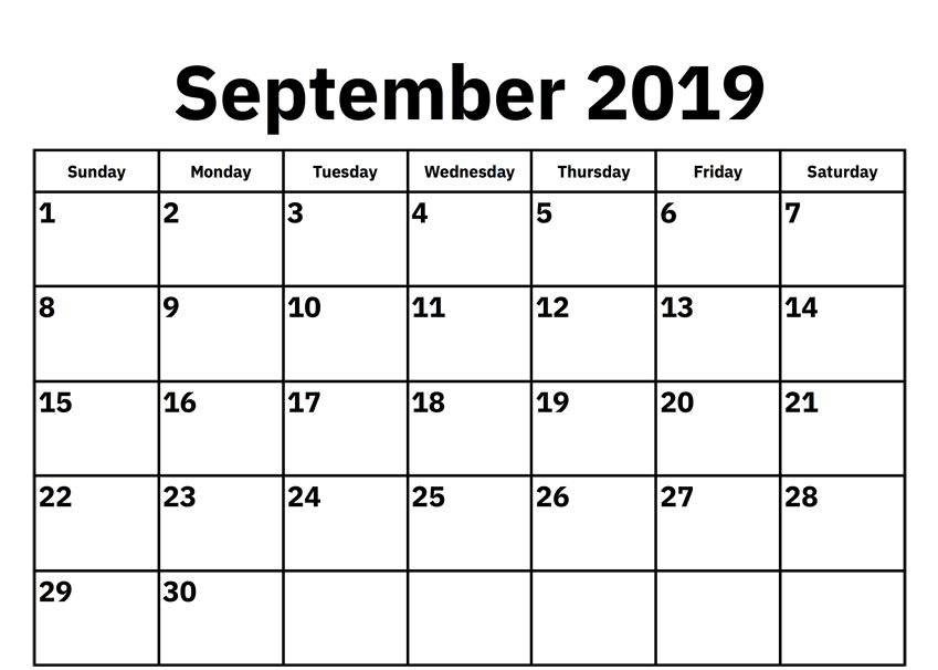 Blank September Calendar 2019 Printable Template 2