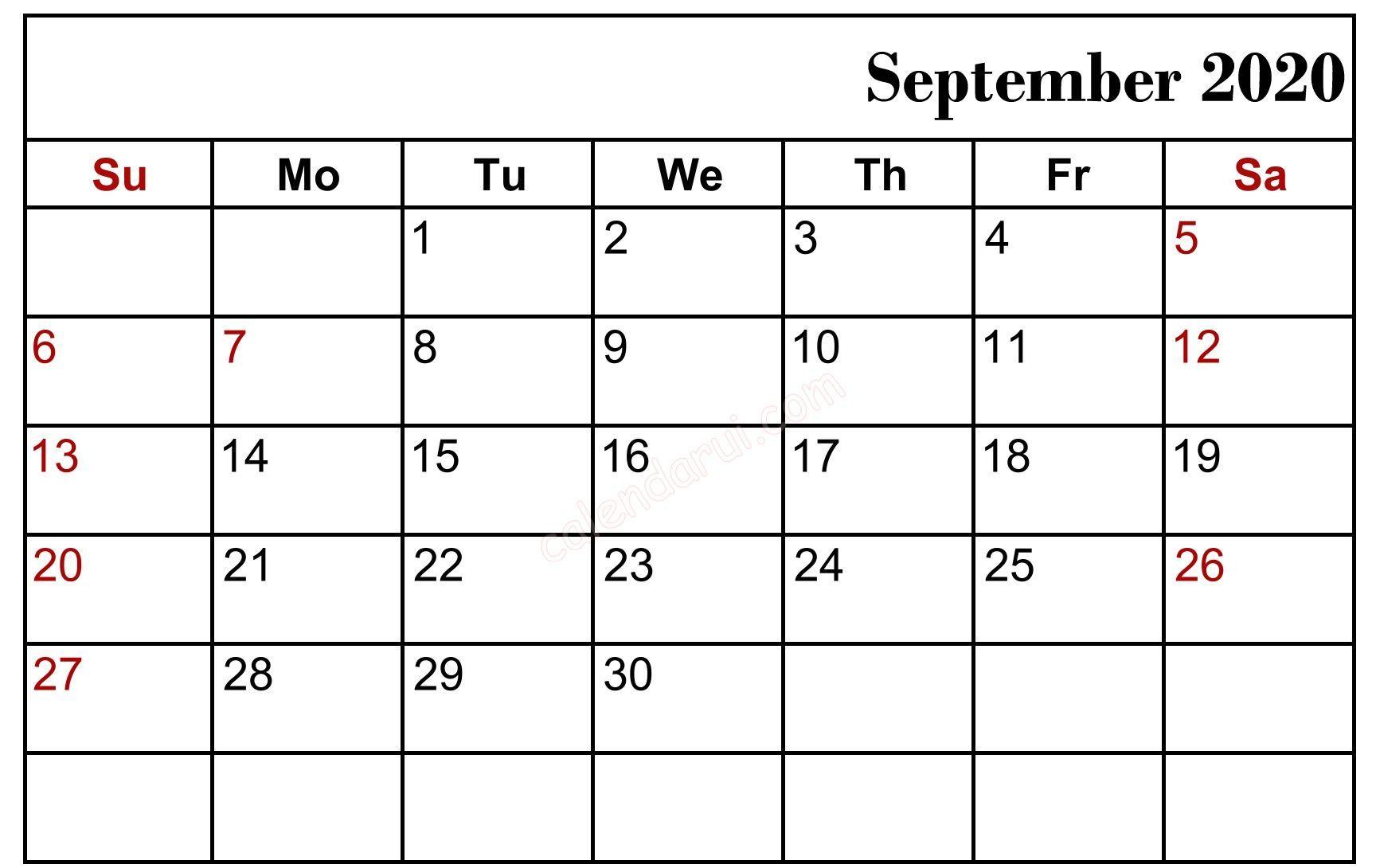 September 2020 Blank Calendar Holidays