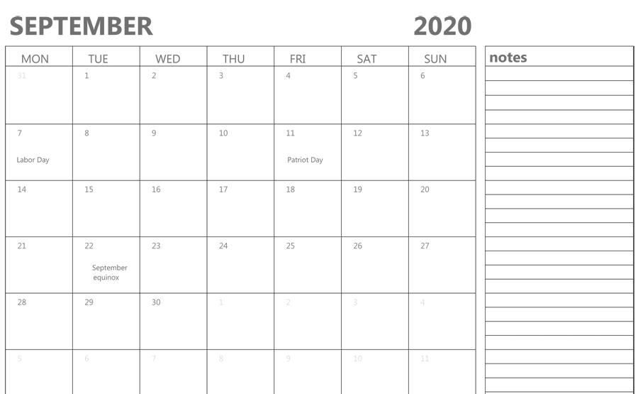 September 2020 Calendar Holidays with Notes