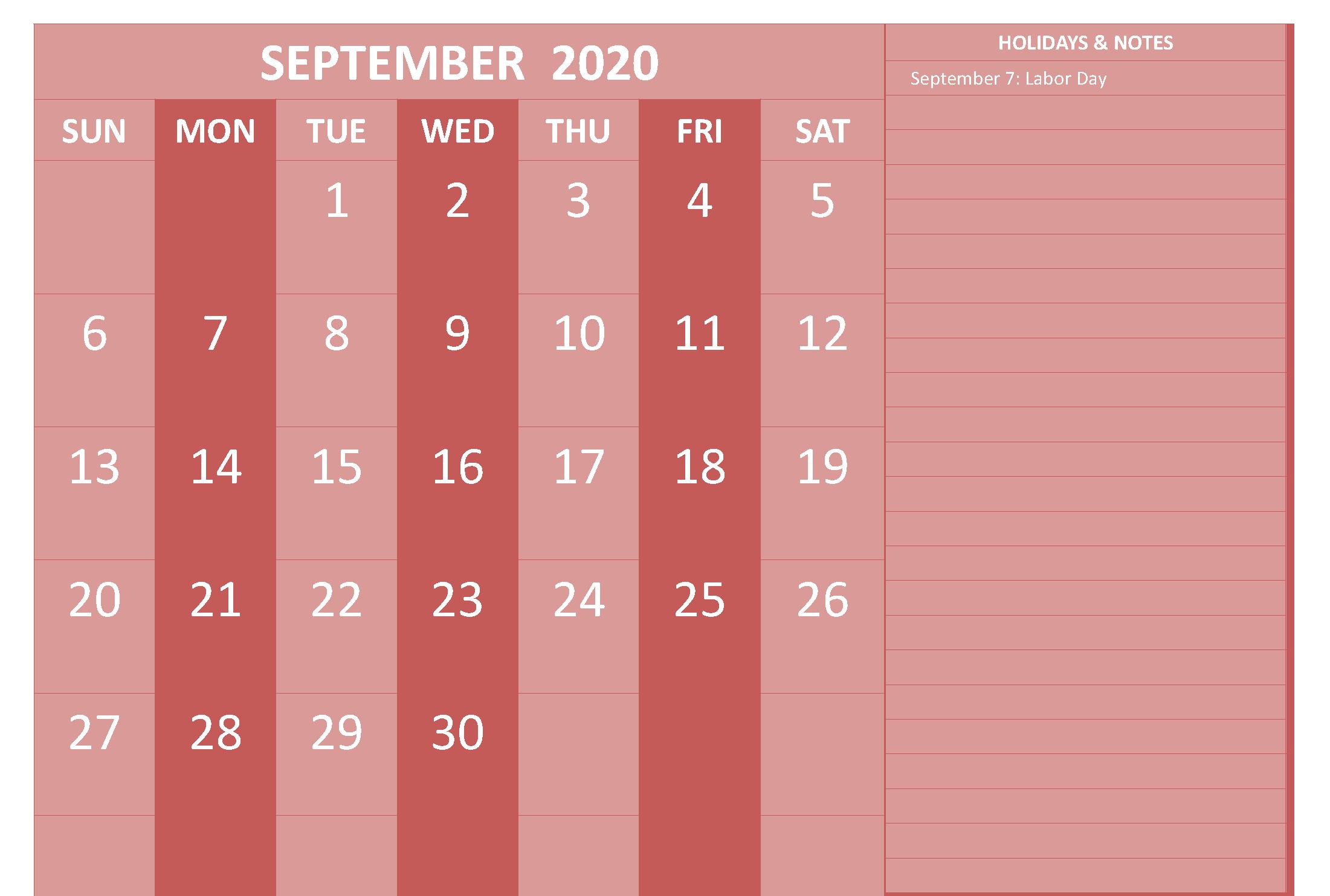September 2020 Calendar with Holidays Australia