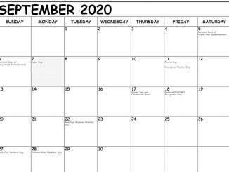 September 2020 Calendar With Holidays Canada
