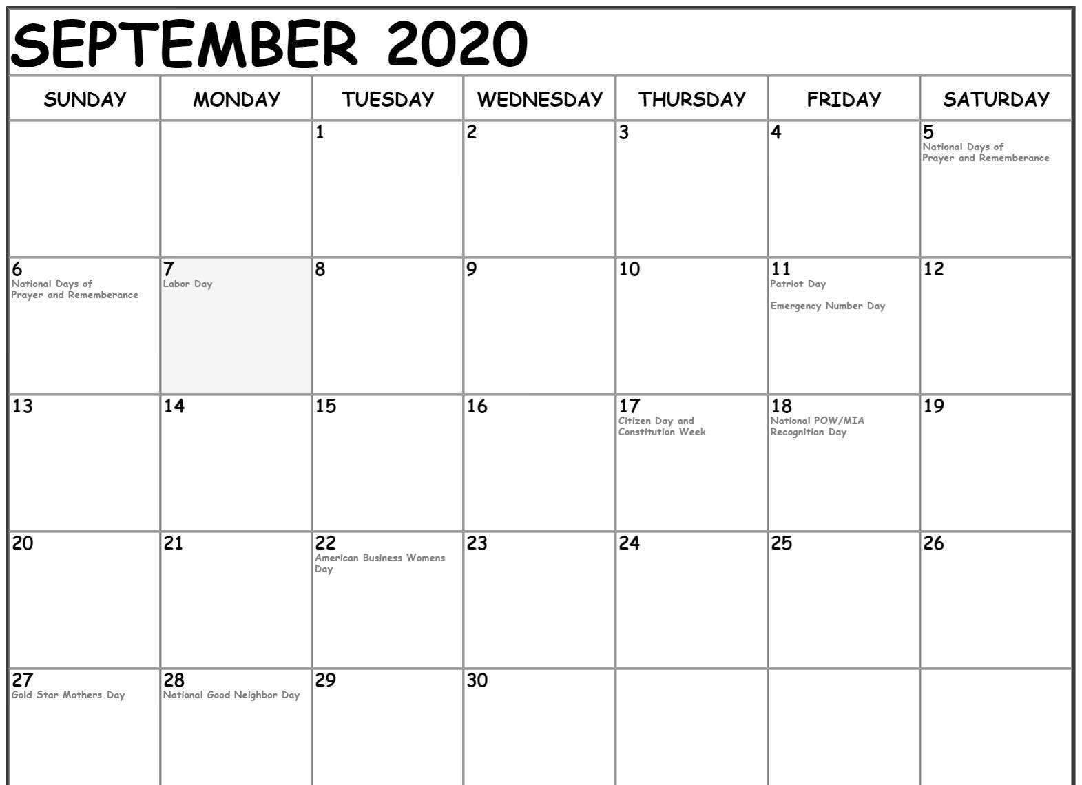 September 2020 Calendar With Holidays Canada
